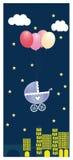 Cartolina d'auguri di vettore di notte con il passeggiatore Immagine Stock