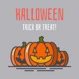 Cartolina d'auguri di vettore di Halloween con le zucche illustrazione vettoriale