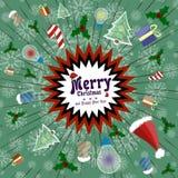 Cartolina d'auguri di vettore nel retro stile Esplosione di festa di divertimento, regali, caramella, cappucci di Santa Claus illustrazione di stock