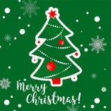 Cartolina d'auguri disegnata a mano dell'albero di Natale Fotografie Stock Libere da Diritti