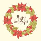 Cartolina d'auguri disegnata a mano di Buon Natale con la corona e Holly Berries del vischio Fotografia Stock Libera da Diritti