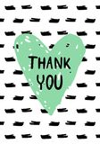 Cartolina d'auguri disegnata a mano di ringraziamento con le chiazze, il cuore e l'iscrizione dell'inchiostro royalty illustrazione gratis
