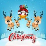 Cartolina d'auguri divertente di Natale, con Santa Claus, i cervi, il pupazzo di neve ed il pinguino illustrazione vettoriale