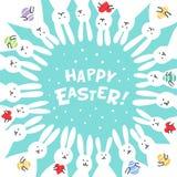 Cartolina d'auguri divertente di Pasqua del coniglietto con i conigli bianchi di Pasqua Illustrazione dei coniglietti svegli con  Fotografia Stock