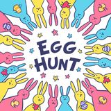 Cartolina d'auguri divertente di Pasqua del coniglietto con i conigli bianchi di Pasqua Illustrazione dei coniglietti svegli con  Immagini Stock Libere da Diritti