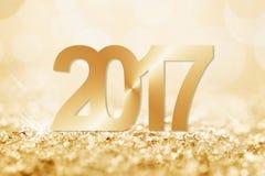 cartolina d'auguri dorata della neve 2017 Fotografie Stock