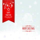 Cartolina d'auguri e fondo di Natale con la mano Fotografia Stock Libera da Diritti
