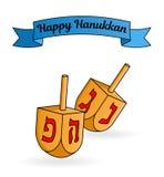 Cartolina d'auguri ebrea di Chanukah di festa Dreidels tradizionali Illustrazione di Stock