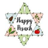 Cartolina d'auguri ebrea di pesach di Pesach con le icone di scarabocchio del seder e stella ebrea, illustrazione vettoriale