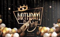 Cartolina d'auguri elegante di compleanno con gli aerostati, la serpentina, la struttura dell'oro e la corona royalty illustrazione gratis