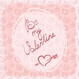 Cartolina d'auguri, etichetta o autoadesivo di giorno del ` s del biglietto di S. Valentino con l'iscrizione scritta a mano Immagine Stock Libera da Diritti