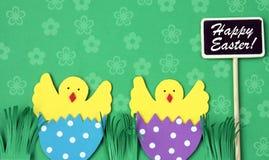 Cartolina d'auguri fatta a mano di Pasqua: pollo covato in guscio d'uovo con la lavagna isolata sul fondo del fiore Immagini Stock
