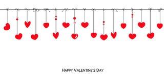 Cartolina d'auguri felice dei cuori della carta di San Valentino Fotografia Stock Libera da Diritti