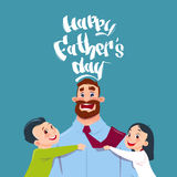 Cartolina d'auguri felice del papà di abbraccio del padre Day Family Holiday, del derivato e del figlio Immagine Stock Libera da Diritti