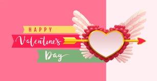 Cartolina d'auguri felice del testo di giorno di biglietti di S. Valentino La freccia ha perforato il simbolo di forma del cuore  Fotografie Stock
