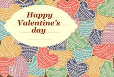 Cartolina d'auguri felice dell'iscrizione di giorno del ` s del biglietto di S. Valentino Illustrazione di vettore Immagini Stock Libere da Diritti