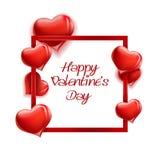 Cartolina d'auguri felice dell'iscrizione di San Valentino su backgroun bianco Illustrazione di Stock