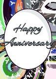 Cartolina d'auguri felice di anniversario con le foglie Immagini Stock Libere da Diritti
