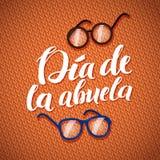 Cartolina d'auguri felice di calligrafia di giorno dei nonni su Knitt arancio Fotografie Stock Libere da Diritti