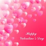 Cartolina d'auguri felice di celebrazione di giorno di biglietti di S. Valentino decorata con i cuori rosa Immagini Stock Libere da Diritti