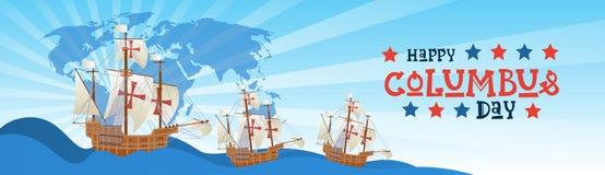 Cartolina d'auguri felice di Columbus Day National Usa Holiday con la nave in oceano illustrazione vettoriale