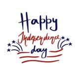 Cartolina d'auguri felice di festa dell'indipendenza degli Stati Uniti Fuochi d'artificio, bande rosse, stelle blu ed iscrizione  illustrazione vettoriale