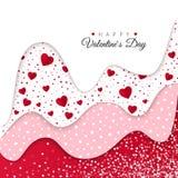 Cartolina d'auguri felice di giorno dei biglietti di S Gli strati ondulati rossi hanno decorato i cuori bianchi Progettazione dis illustrazione vettoriale