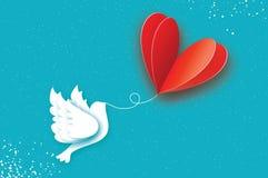 Cartolina d'auguri felice di giorno del `s del biglietto di S Pallone di amore di volo Uccello nello stile del taglio della carta illustrazione vettoriale