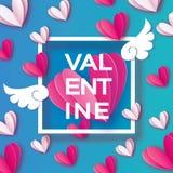 Cartolina d'auguri felice di giorno del ` s del biglietto di S. Valentino di origami I cuori bianchi e rosa di amore di volo, ali royalty illustrazione gratis