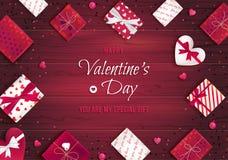 Cartolina d'auguri felice di giorno del `s del biglietto di S Vista superiore sui contenitori di regalo nell'imballaggio differen illustrazione di stock