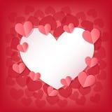Cartolina d'auguri felice di giorno del ` s del biglietto di S. Valentino con i cuori bianchi e rosa Fotografie Stock