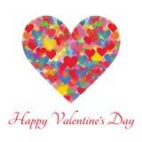 Cartolina d'auguri felice di giorno del ` s del biglietto di S. Valentino su fondo bianco Immagini Stock Libere da Diritti