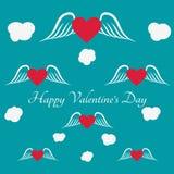 Cartolina d'auguri felice di giorno del ` s del biglietto di S. Valentino su fondo blu Fotografia Stock