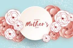 Cartolina d'auguri felice di giorno del ` s della madre Fiore da taglio di carta del caffè macchiato Struttura del cerchio Spazio Fotografia Stock Libera da Diritti