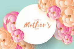 Cartolina d'auguri felice di giorno del ` s della madre Fiore da taglio di carta rosa arancione Struttura del cerchio Spazio per  Immagine Stock