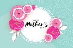 Cartolina d'auguri felice di giorno del ` s della madre Fiore da taglio di carta rosa Struttura del cerchio Spazio per testo Fotografia Stock Libera da Diritti