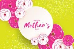 Cartolina d'auguri felice di giorno del ` s della madre Fiore da taglio rosa del Libro Bianco Struttura del cerchio Spazio per te Fotografia Stock Libera da Diritti