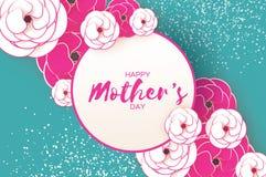 Cartolina d'auguri felice di giorno del ` s della madre Fiore da taglio rosa del Libro Bianco Struttura del cerchio Spazio per te Immagine Stock