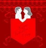Cartolina d'auguri felice di giorno di biglietti di S. Valentino Fotografie Stock