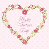 Cartolina d'auguri felice di giorno di biglietti di S. Valentino con i fiori nello stile d'annata Immagini Stock