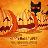 Cartolina d'auguri felice di Halloween con il gatto nero e Immagine Stock