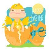Cartolina d'auguri felice di Pasqua, bambino in un costume del pollo nell'uovo rotto Fotografie Stock Libere da Diritti