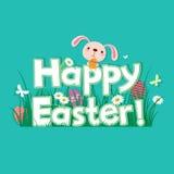 Cartolina d'auguri felice di Pasqua con coniglio Fotografia Stock Libera da Diritti