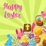 Cartolina d'auguri felice di Pasqua con gli oggetti, le uova e gli autoadesivi decorativi dei coniglietti illustrazione di stock