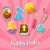 Cartolina d'auguri felice di Pasqua con gli oggetti, le uova e gli autoadesivi decorativi dei coniglietti royalty illustrazione gratis