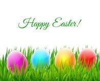 Cartolina d'auguri felice di Pasqua con i gras di vetro variopinti di verde del eggson Immagini Stock