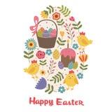 Cartolina d'auguri felice di Pasqua con il pulcino Fotografie Stock