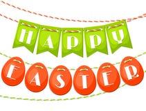 Cartolina d'auguri felice di Pasqua con la ghirlanda delle bandiere royalty illustrazione gratis
