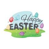 Cartolina d'auguri felice di Pasqua con le uova divertenti Fotografie Stock
