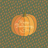 Cartolina d'auguri felice di ringraziamento Backgound di vettore della zucca di autunno royalty illustrazione gratis